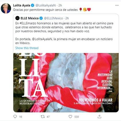 Lolita Ayala se convirtió en la porta de ELLE (Foto: Twitter)