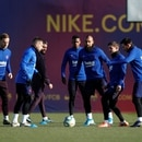 Soccer Football - FC Barcelona Training - Ciutat Esportiva Joan Gamper, Barcelona, Spain - January 18, 2020 FC Barcelona's Ivan Rakitic, Jordi Alba, Nelson Semedo, Arturo Vidal and Lionel Messi during training REUTERS/Albert Gea