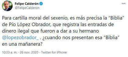 Tweet by Felipe Calderón (Photo: Twitter @ FelipeCalderon)