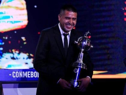 Riquelme, durante el sorteo de grupos de la Copa Libertadores 2020 en Asunción (REUTERS/Jorge Adorno)