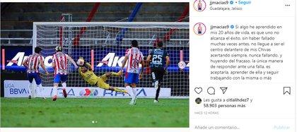 Publicación de José Juan Macías (Foto: Instagram / @ jjmacias9)
