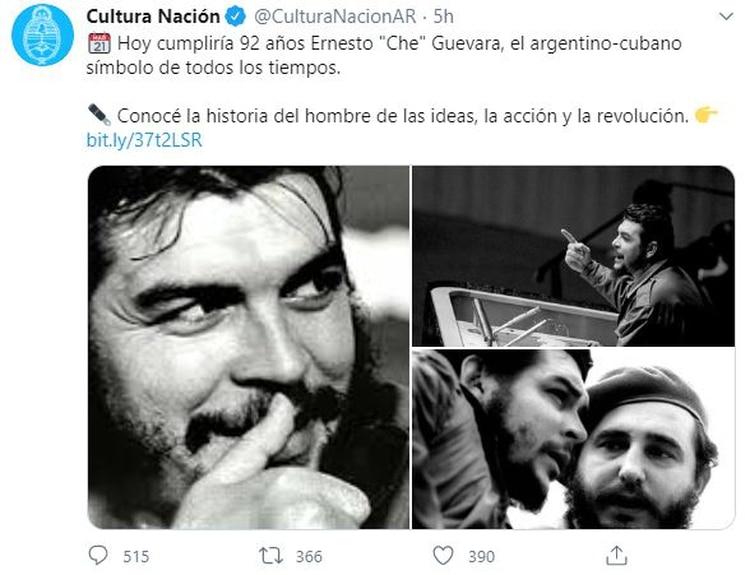 La indisimulada admiración a Guevara en la cuenta oficial de Twitter del Ministerio de Cultura de la Nación