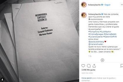 La foto que publicó Laurita Fernández con el guión de su nuevo trabajo (Foto: Instagram)