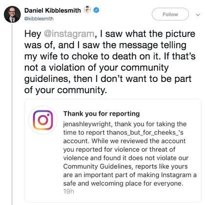 """El esposo de otra víctima de acoso a la que Instagram ignorórespondió que """"si eso no es una transgresión de sus Pautas Comunitarias, entonces no quiero ser parte de su comunidad""""."""