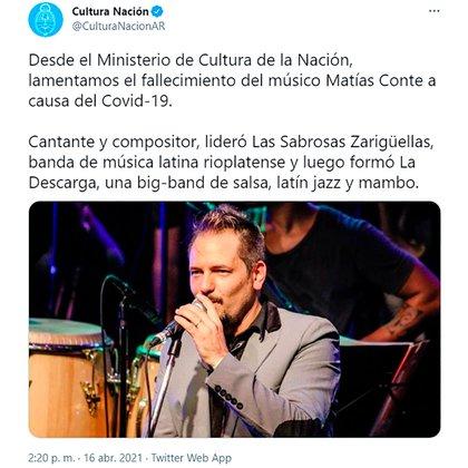 El tuit del Ministerio de Cultura informando la muerte de Matías Conte