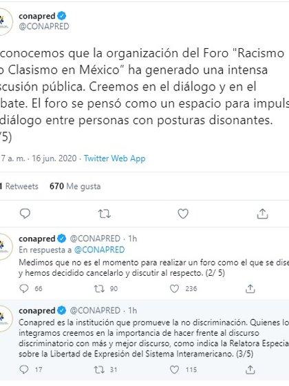 """Conapred anunció la cancelación del foro """"Racismo y/o Clasismo en México (Foto: Twitter@CONAPRED)"""