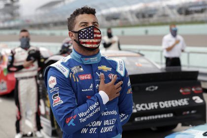 Wallace es el único piloto afroamericano de la máxima división de NASCAR (Wilfredo Lee/Pool Photo via USA TODAY Network)