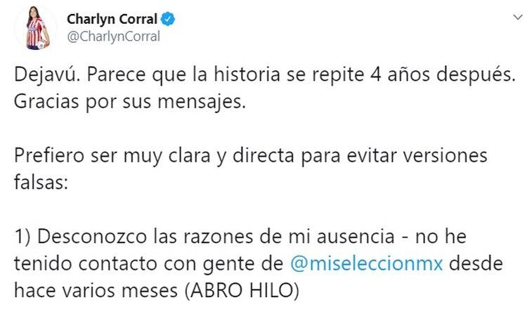 La jugadora mexicana no fue convocada por la Selección Nacional de México para disputar el torneo preolímpico rumbo a Tokio 2020 (Captura de Pantalla: Twitter @CharlynCorral)