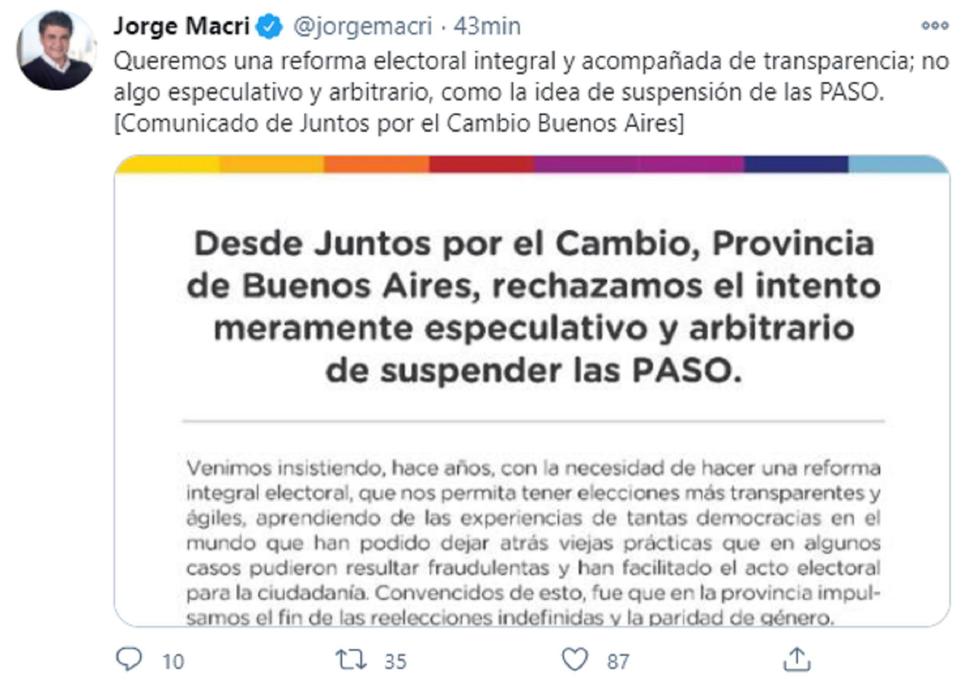 Jorge Macri - Suspensión de las PASO