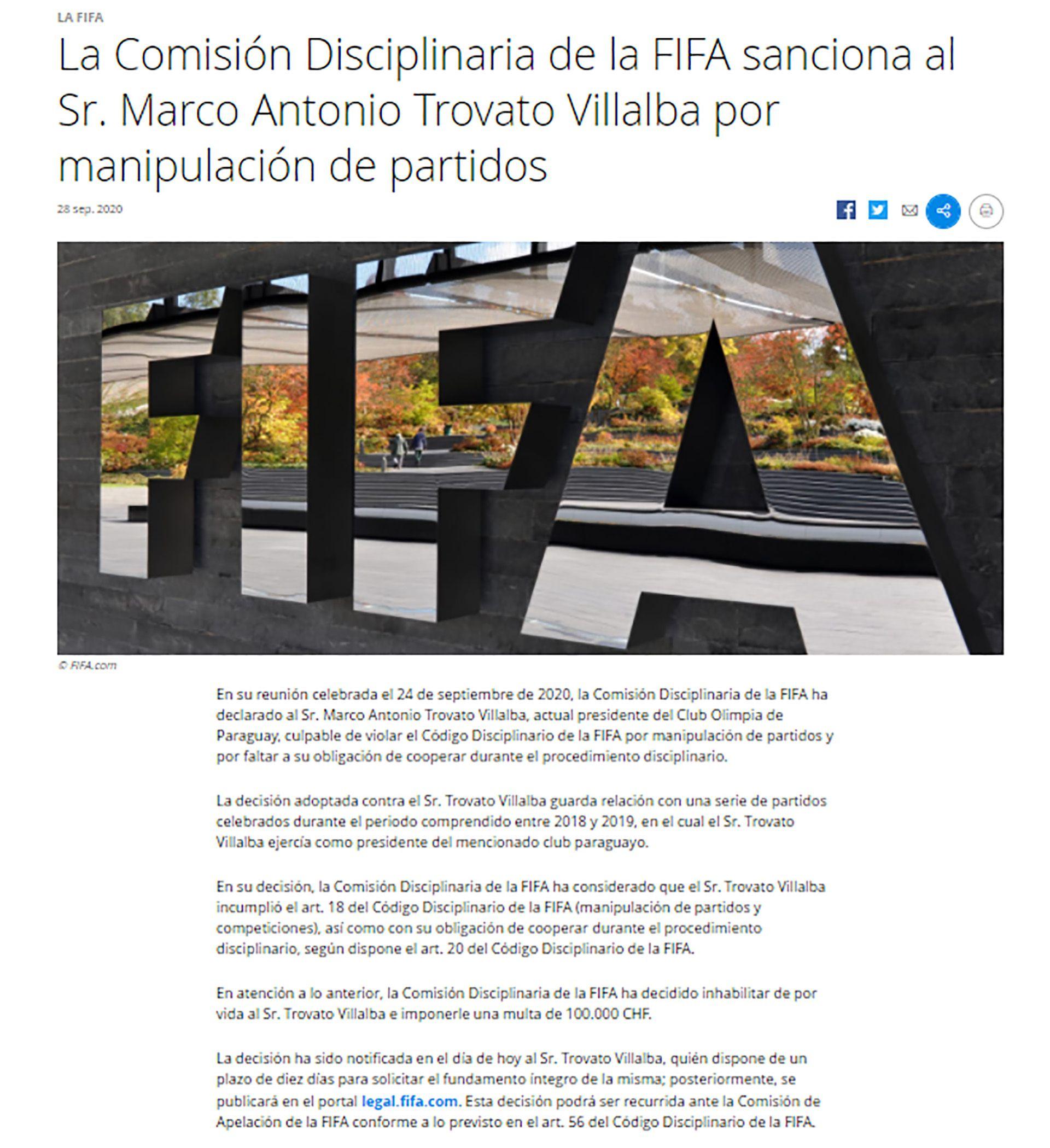 Presidente de Olimpia de Paraguay suspendido de por vida