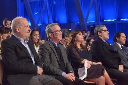 Hernán Lombardi  junto a  Jorge Sigal y a la ex directora de Radio Nacional Ana Gerschenson