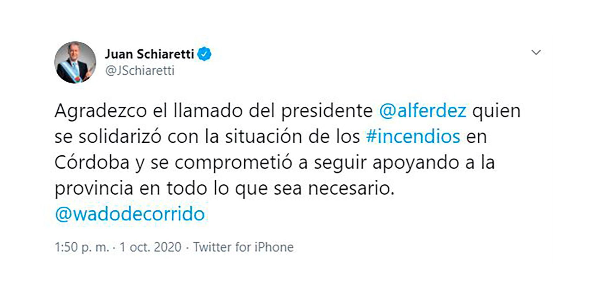 Tweet de Juan Schiaretti en Twitter