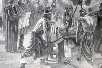 Fray Luis Beltrán en plena tarea, cuando debió ponerse al frente de la fabricación del armamento que usaría el Ejército de los Andes.