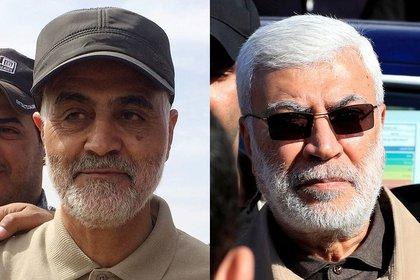 Combinación de imágenes de archivo del comandante de las Guardias Revolucionarias de Irán Qassem Soleimani (a la izquierda) y Abu Mahdi al-Muhandis, comandante de las Fuerzas de Movilización Popular de Irak. REUTERS/Stringer/Thaier al-Sudani