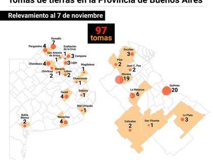 Hay 97 tomas distribuidas en 25 municipios de la provincia de Buenos Aires (Marcelo Regalado)