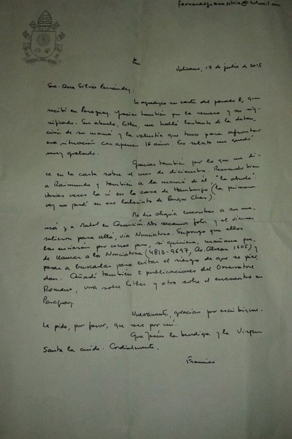 La carta que el Papa le envió a la nieta de Esther