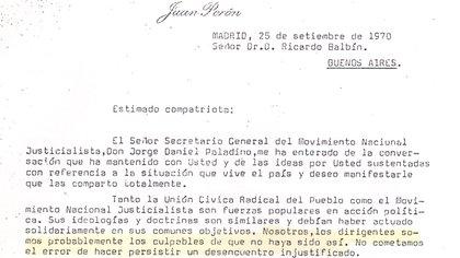 Encabezamiento de la primera carta de Perón a Ricardo Balbín