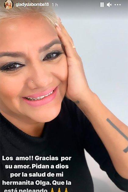 Gladys La Bomba Tucumana sufrió de coronavirus a principios de 2021. Ahora, pide por la salud de su hermana Olga Jiménez (Foto: Instagram @gladyslabomba18)