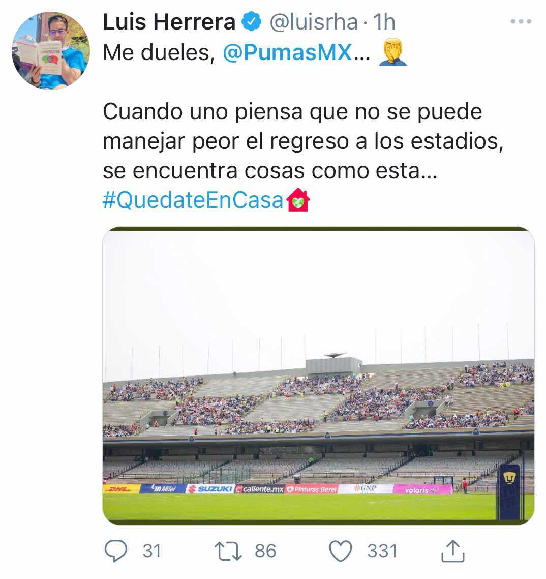 Denuncian irregularidades en el Estadio Olímpico (Foto: Twitter-Luisrha)