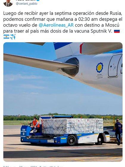El tuit del presidente de Aerolíneas Argentinas