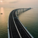 An aerial view taken on October 22, 2018, shows a section of the Hong Kong-Zhuhai-Macau Bridge (HKZM) in Hong Kong. - The world's longest sea-bridge connecting Hong Kong, Macau and mainland China will be launched October 23, at a time when Beijing seeks to tighten its grip on its territories. (Photo by Anthony WALLACE / AFP)