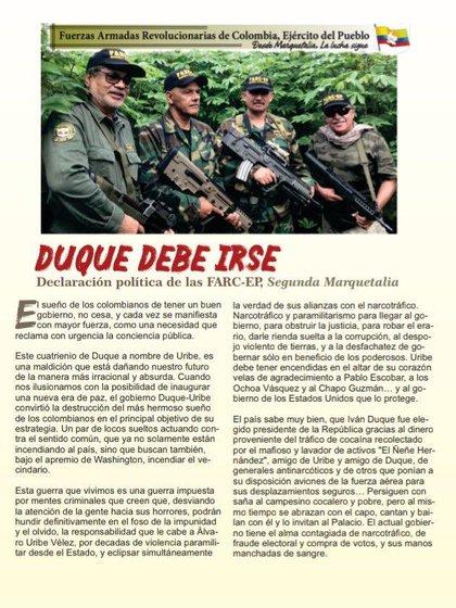 Comunicado de la 'Segunda Marquetalia' exigiendo la renuncia de Duque (parte 1)