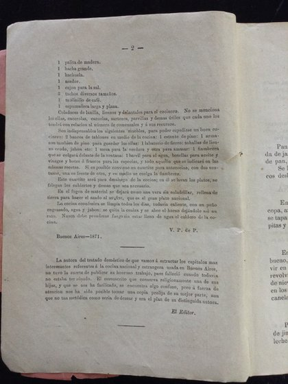La segunda página del libro, con la palabra del editor