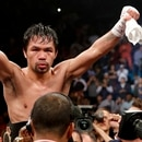 Manny Pacquiao celebrates his win against Adrien Broner in the WBA welterweight title boxing match Saturday, Jan. 19, 2019, in Las Vegas. (AP Photo/John Locher)