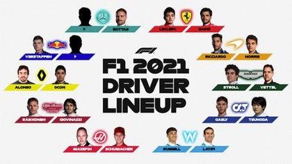 Así está la grilla 2021 de la Fórmula 1 tras la confirmación de Tsunoda