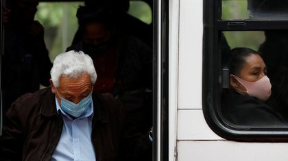 People are seen on a public transport, as the coronavirus disease (COVID-19) outbreak continues, in Mexico City, Mexico September 21, 2020. REUTERS/Carlos Jasso
