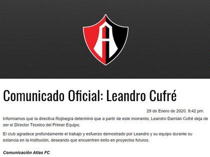 El Atlas publicó en su cuenta de Twitter el comunicado (Foto: Twitter)