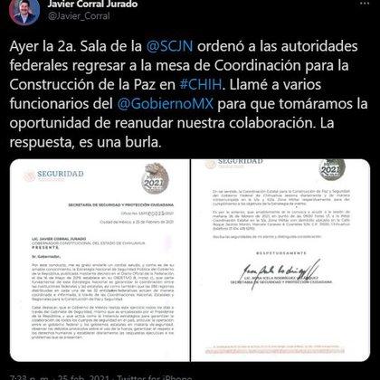 Las autoridades federales exhortaron a Corral Jurado a asistir a la próxima sesión del gabinete estatal de seguridad (Foto: Twitter@/Javier_Corral)