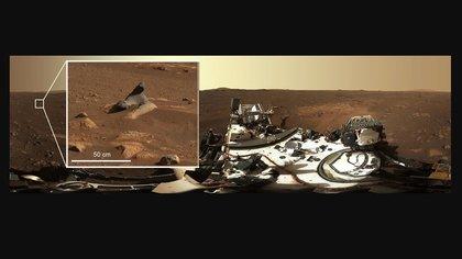 Esta roca tallada por el viento que se ve en la primera panorámica de 360 grados tomada por el instrumento Mastcam-Z muestra cuántos detalles capturan los sistemas de cámaras. El rover Perseverance de la NASA ha enviado desde Marte el 25 de febrero su primera mirada en alta definición alrededor de su posición en el cráter Jezero, después de rotar su mástil o 'cabeza' 360 grados. (NASA/JPL-CALTECH/MSSS/ASU)