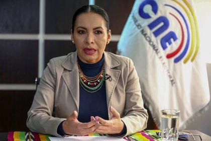 En la imagen, la presidenta del Consejo Nacional Electoral (CNE) de Ecuador, Diana Atamaint. EFE/José Jácome/Archivo