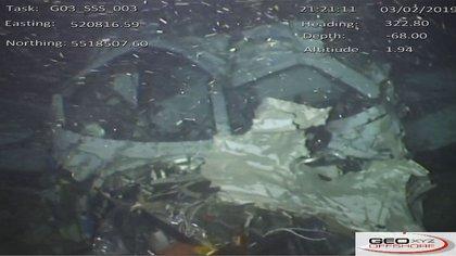Una de las fotografías que tomó el robot submarino del avión en el fondo del Canal de la Mancha