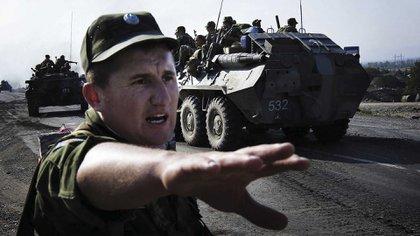 La ofensiva militar de Georgia en las repúblicas separatistas de Osetia el Sur y Abjasia fue aplastada por la intervención de las fuerzas armadas de Rusia. Foto: AFP.