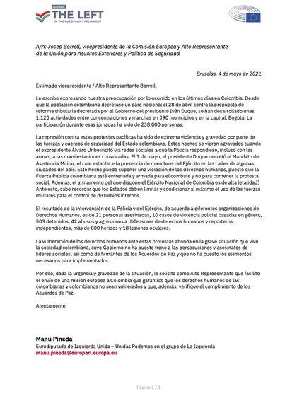 El eurodiputado español Manu Pineda, solicitó a la Unión Europea enviar una una misión oficial de observación internacional  a Colombia. Foto: Twitter Manu Pineda.