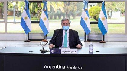 Alberto Fernández, el viernes pasado durante el anuncio de la extensión de la cuarentena hasta el 16 de agosto