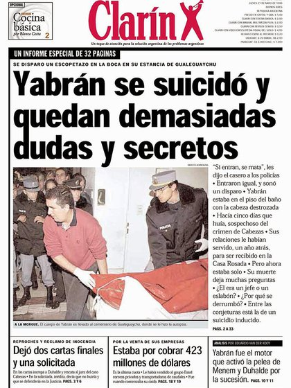 La tapa del diario Clarín del 21 de mayo de 1998