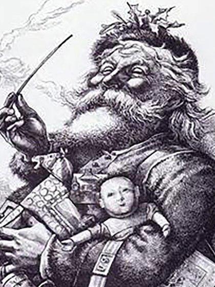 Caricatura de Papá Noel realizada por Thomas Nast