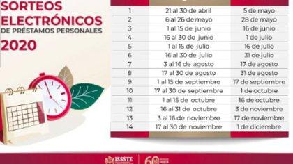 Calendario de sorteos para Préstamos Personales 2020 (Foto: ISSSTE)