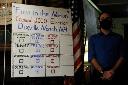 Una placa muestra los resultados de las papeletas emitidas poco después de la medianoche para las elecciones presidenciales de los Estados Unidos en el Hale House at Balsams Hotel en Dixville Notche. REUTERS/Ashley L. Conti