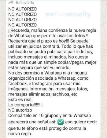 Captura del falso mensaje que circula por WhatsApp
