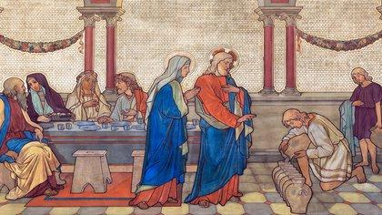 Fresco de Las bodas de Canaan, donde Jesús convirtió el agua en vino. en Praga, República Checa. (Shutterstock)