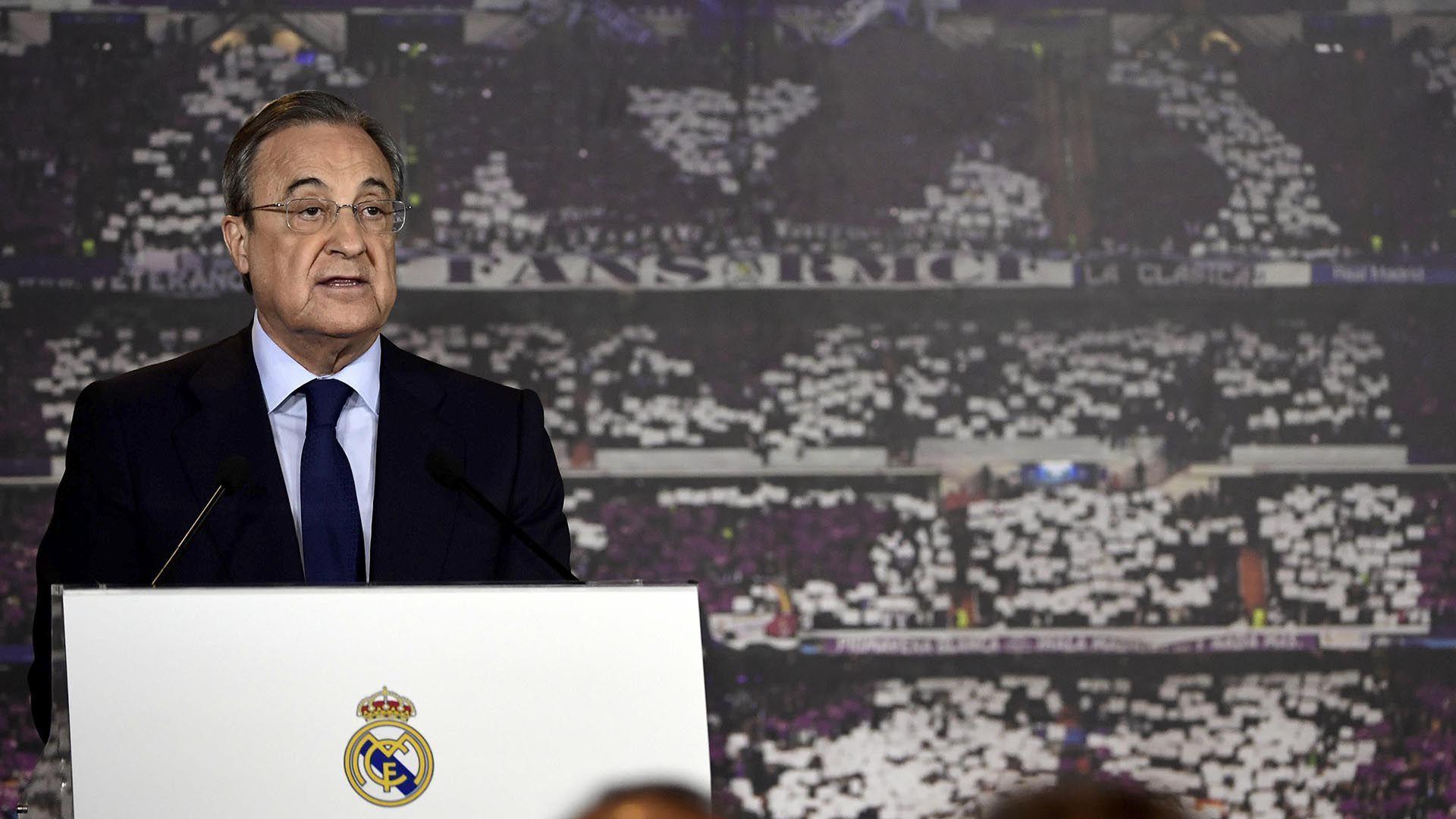 Florentino Perez, presidente del Real Madrid, que tendrá equipo femenino la próxima temporada(AFP)