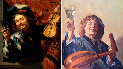 Dos miradas a homres con instrumentos musicales, copas y cierta ebriead, de Gerard van Honthorst y Frans Hals