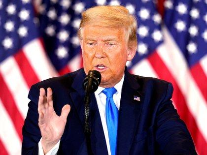 Trump habla en la noche de las elecciones en un evento en la Casa Blanca en Washington, DC. (EFE/EPA/CHRIS KLEPONIS)