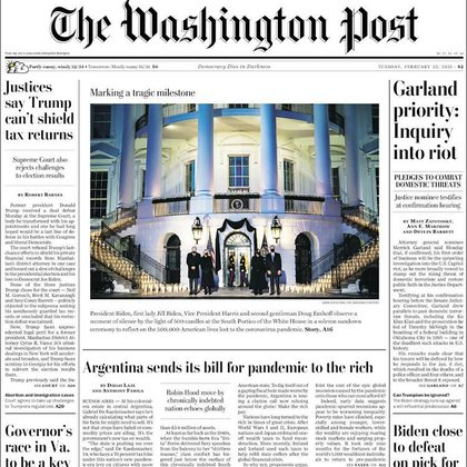 La nota sobre Argentina la portada de The Washington Post  de hoy