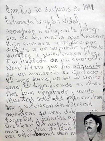 La carta que el doctor Pedro Peralta le mandó a la familia Vidal para denunciar lo que había pasado.