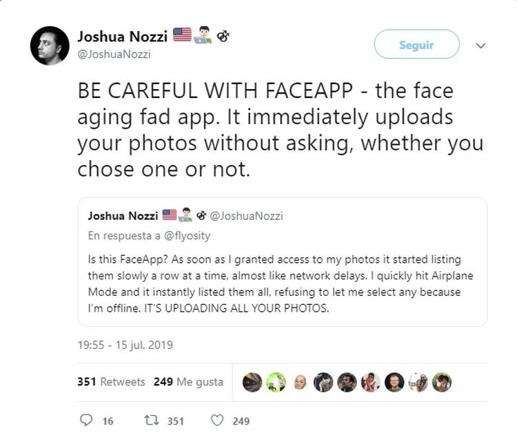 El usuario Joshua Nozzi publicó en Twitter un alerta sobre FaceApp